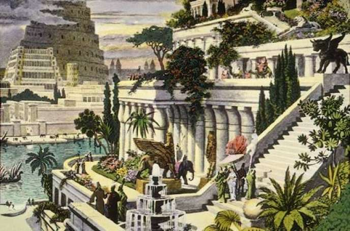 Gravure anonyme. Selon la tradition, ces jardins n'étaient pas à proprement parler suspendus, mais installés en terrasses sur les toits du palais royal.