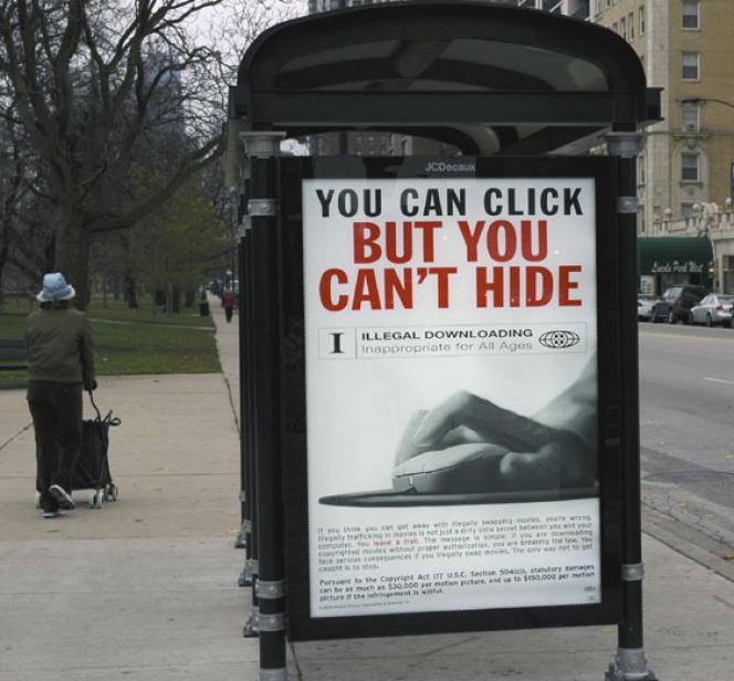 Une publicité contre le téléchargement illégal aux Etats-Unis.