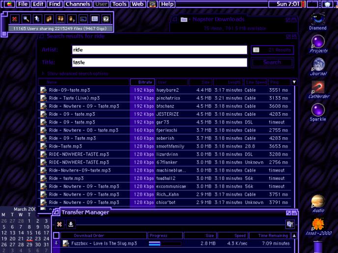 L'interface du service de téléchargement Napster, en 2001.