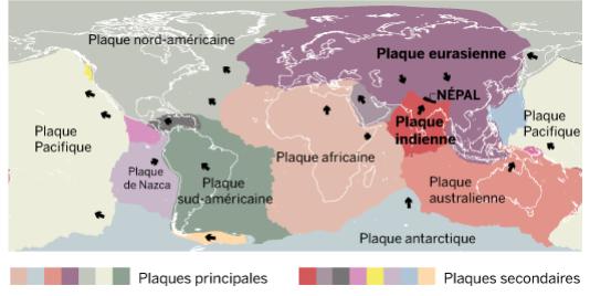 Plaques tectoniques à la surface du globe.