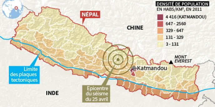La carte du séisme et la densité de population.