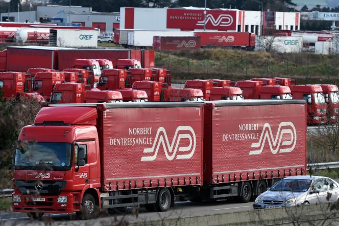 Un camion de la société Norbert Dentressangle.