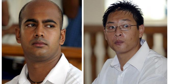 Myuran Sukumaran (à gauche), 33ans, et Andrew Chan, 31ans, chefs du gang dit des «Neuf de Bali», avaient été arrêtés à l'aéroport principal de Bali en2005 pour avoir tenté de faire passer 8kilogrammes d'héroïne de Bali en Australie.