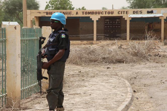 Minusma's Blue Helmet in Timbuktu (Mali), April 2015.