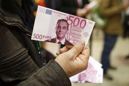 Un faux billet de 500 euros sur lequel apparaît le portrait de Carlos Ghosn, le PDG de Renault.