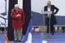 Jean-Marie Le Pen et sa fille Marine, lors du défilé du Front National, le 1er mai 2015.
