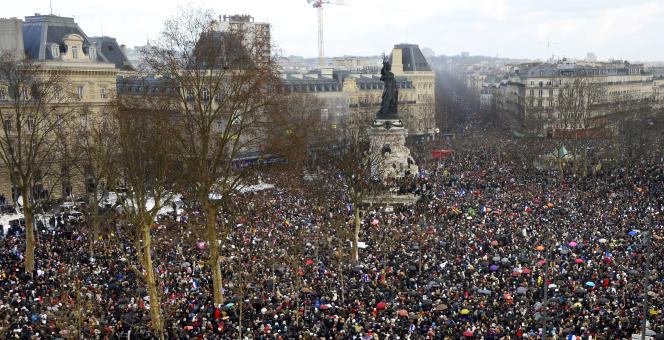 La marche pour l'unité républicaine place de la République à Paris le  11 janvier 2015.
