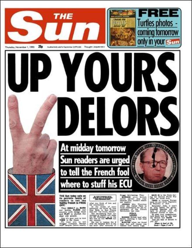 «Une» du «Sun» sur Delors