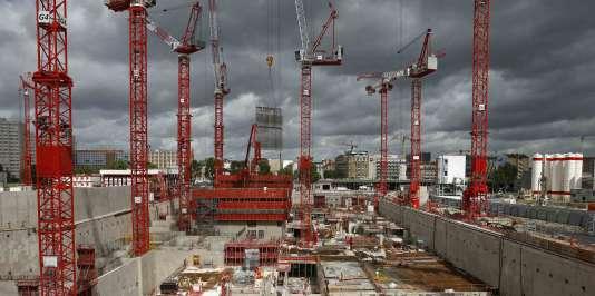 Le chantier du nouveau palais de justice de Paris, dans la ZAC Paris-Clichy-Batignolles, en mai 2015.