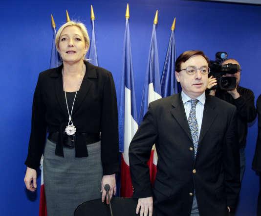 Jean-François Jalkh et Marine Le Pen en janvier 2011.