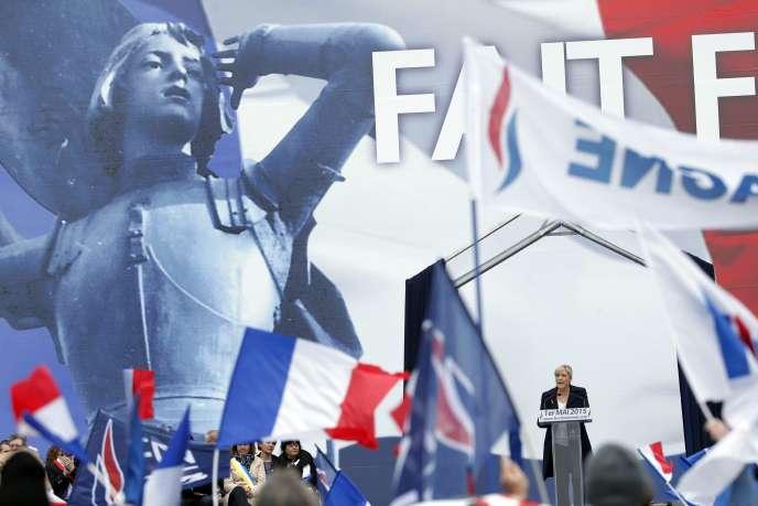 Marine Le Pen lors du rassemblement du Front national le 1er mai.