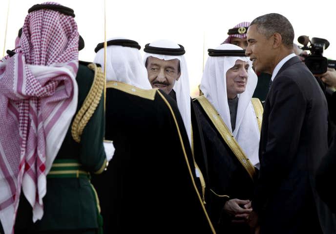 Le roi d'Arabie saoudite, Salman Ben Abdel Aziz Al-Saoud, et le président américain, Barack Obama, le 27 janvier, à Riyad.