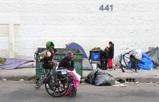 Sans-domicile-fixe à Los Angeles, le 12 mai 2015.
