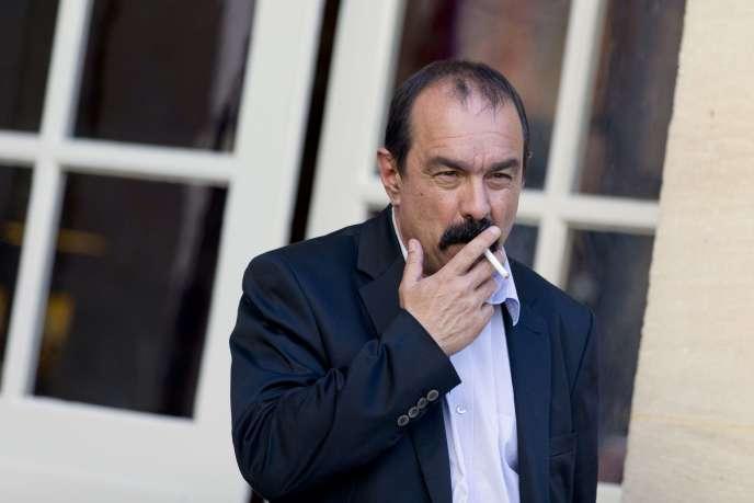 Philippe Martinez à Matignon après une rencontre avec Manuel Valls, le 12 mai.