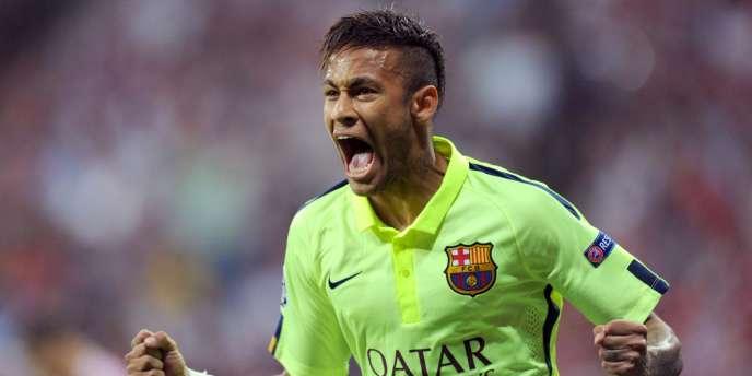 Neymar après son premier but contre le Bayern, mardi soir.