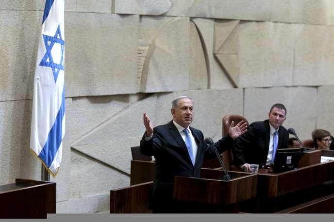 Le premier ministre israélien Benyamin Nétanyahou, le 14 mai, lors du vote de confiance à la Knesset.