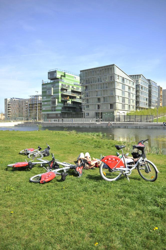 Des jeunes et leur Vélo'v, à Lyon.