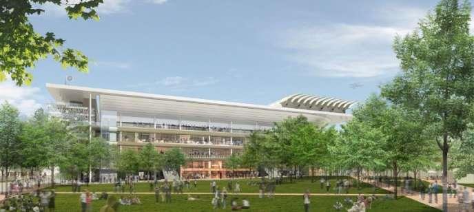 Vue d'artiste du projet d'extension de l'enceinte de Roland-Garros présenté par la FFT.