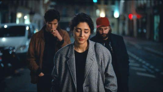"""Louis Garrel, Vincent Macaigne et Golshifteh Farahani dans le film français de Louis Garrel, """"Les Deux Amis""""."""