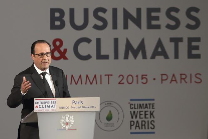 François Hollande à l'UNESCO à Paris, le 20 mai, lors de l'ouverture du Sommet des entreprises pour le climat.