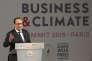 """François Hollande lors du """"Business and Climate Summit 2015"""" à l'UNESCO à Paris, le 20 mai 2015."""