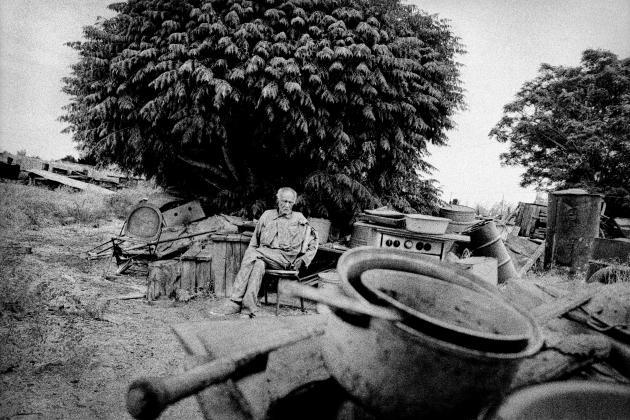 Un ancien travailleur agricole dans son jardin, à Teviston (2001).