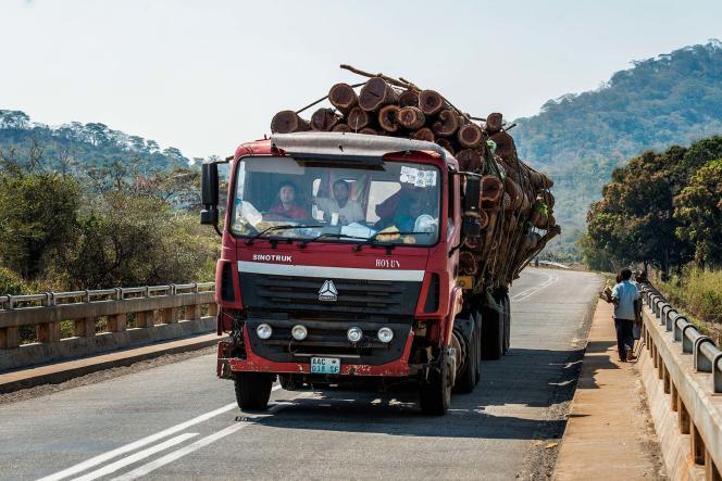 Le transport du bois se fait par camion au Mozambique.