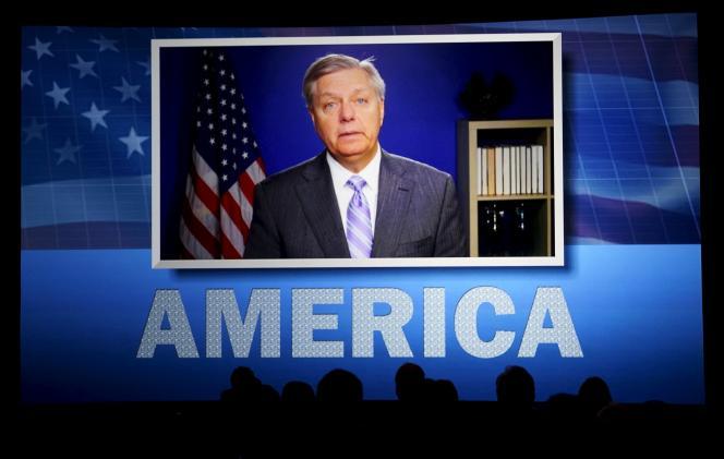 Le sénateur Lindsey Graham, s'exprimant par vidéo à une conférence à Oklahoma City, le 22 mai.