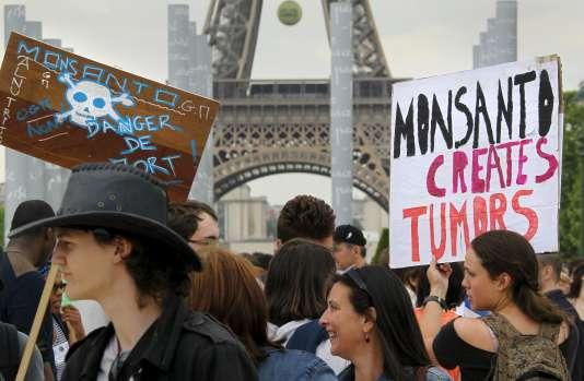 Marche de protestation contre l'utilisation du glyphosate, présent dans l'herbicide Roundup fabriqué par le groupe Monsanto, à Paris, en mai 2015.