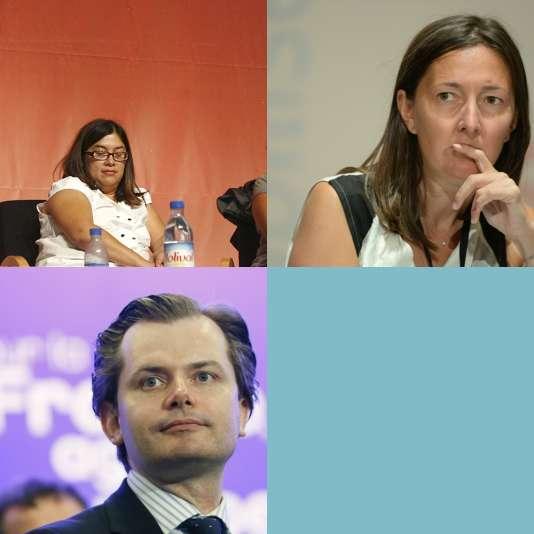 La philosophe Sandra Laugier, les députés Karine Berger et Guillaume Larrivé.