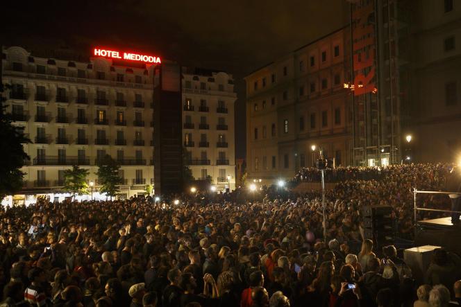 Lors d'un rassemblement de militants de Podemos, à Madrid, le 24 mai.