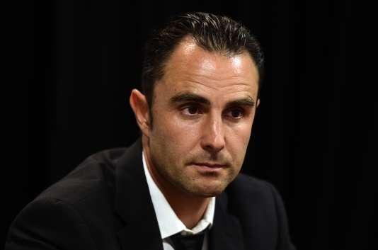 Hervé Falciani, ancien employé de la banque suisse HSBC, lors d'une conférence de presse, à Madrid, en Espagne, le 25 mai 2015.