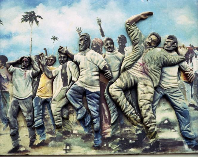 Pointe-à-Pitre (Guadeloupe). Peinture murale de 2011, en hommage aux victimes  de «Mé67».