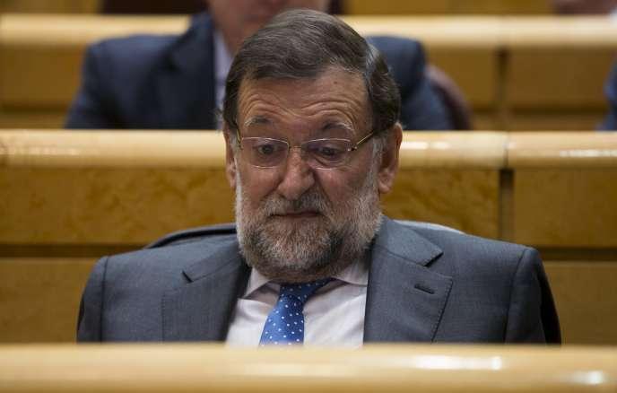 Le président du conseil espagnol, Mariano Rajoy, au Sénat, à Madrid, le 26 mai.