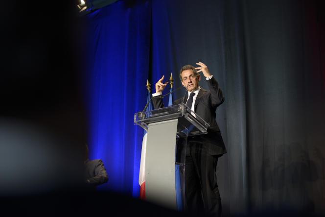Nicolas Sarkozy en meeting à Saint-Georges-d'Orques (Hérault), le 16 mai 2015.
