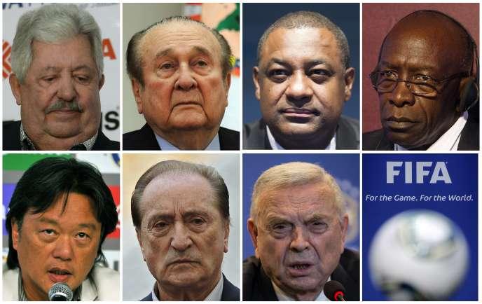 Les sept hauts responsables de la FIFA qui ont été arrêtés mercredi 27 mai à Zurich.