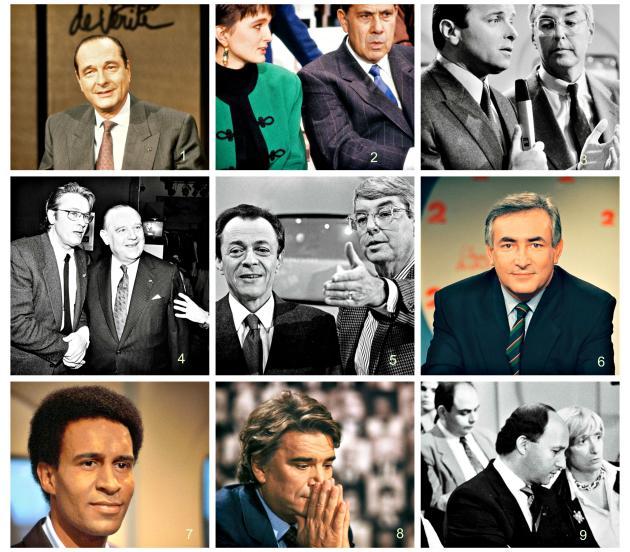 """Au jeu de """"L'Heure de vérité"""" se prêtaient les plus aguerris, Jacques Chirac (photo n°1, en 1988), Charles Pasqua (n°2), ici avec Claude Chirac en 1988, Jacques Toubon (n°3, en 1985), Raymond Barre, avec Alain Delon (n°4, en 1992), Michel Rocard (n°5, en 1986) ; ceux qui avaient besoin de construire leur image, comme DSK (n°6, en 1992), Harlem Desir (n°7, en 1987) ou Laurent Fabius (n°9), ou de se défendre, tels Bernard Tapie (n°8) en 1983, alors en pleine tempête judiciaire."""