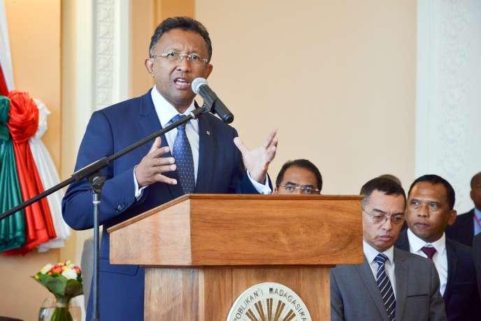 Le président  Hery Rajaonarimampianina lors d'une conférence de presse le 27 mai, à Antananarivo.