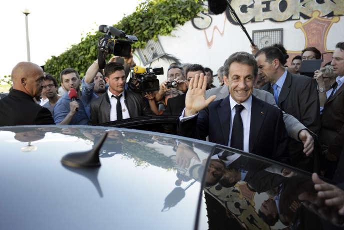 A l'occasion d'un meeting dans l'Hérault, Nicolas Sarkozy s'adresse aux militants et cadres de l'UMP de la région, le 16 mai.