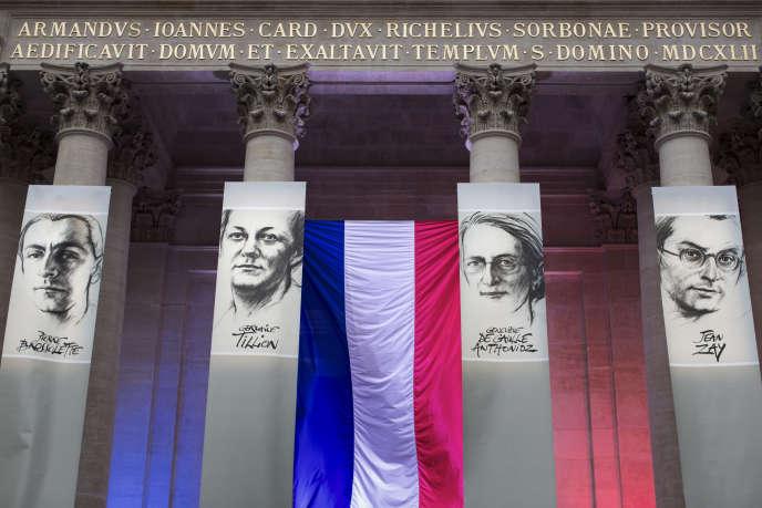 Hommage rendu en Sorbonne, le 26 mai 2015, aux figures de la Résistance Pierre Brossolette, Germaine Tillion, Geneviève de Gaulle Anthonioz et Jean Zay  à l'occasion de leur entrée au Panthéon.