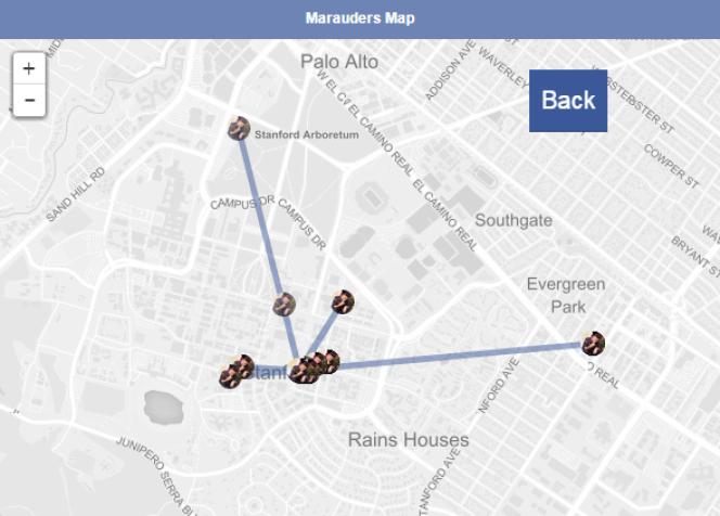 L'application Marauders Map permet de tracer ses contacts Facebook sur une carte.