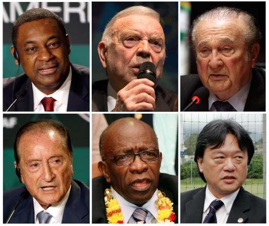 Jack Warner et les autres dirigeants de la FIFA inculpés par la justice américaine, le 27 mai 2015.