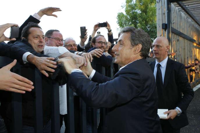 Nicolas Sarkozy lors d'une réunion publique à Rillieux-la-Pape (Rhône) le 21 mai.