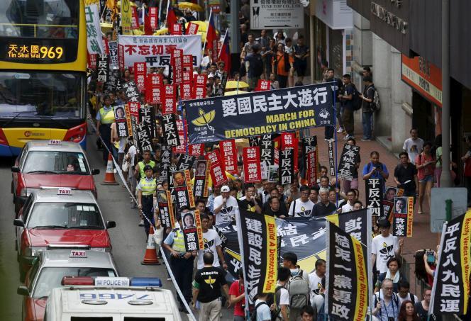 Manifestation en faveur de l'établissement de la démocratie en Chine, le 31 mai à Hongkong.