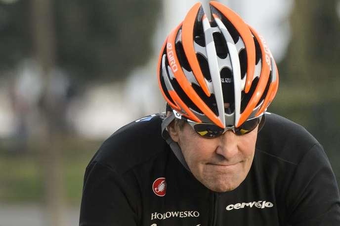 Le secrétaire d'Etat américain John Kerry à vélo en mars à Lausanne pendant les négociations sur le nucléaire iranien.