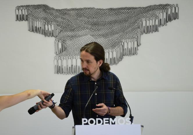 Pablo Iglesias, du parti Podemos, durant une conférence de presse, à Madrid, le 28 mai 2015.