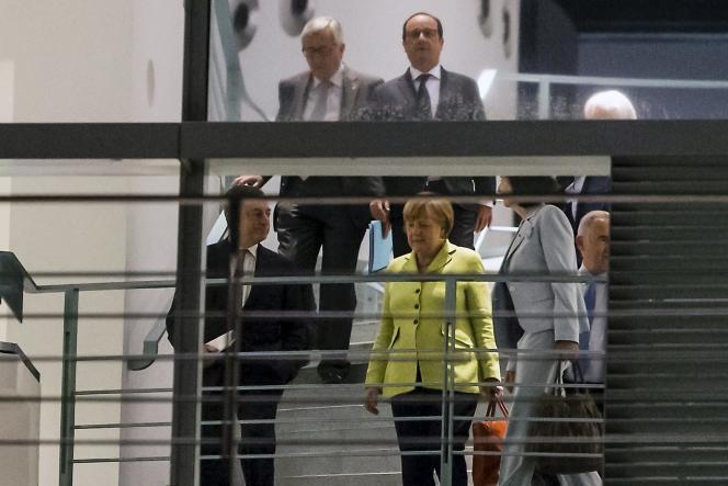 Angela Merkel, Mario Draghi, François Hollande et Jean-Claude Juncker à Berlin, le 1er juin.