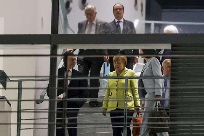 Angela Merkel, Mario Draghi, Francois Hollande et Jean-Claude Juncker à Berlin, le1erjuin2015.