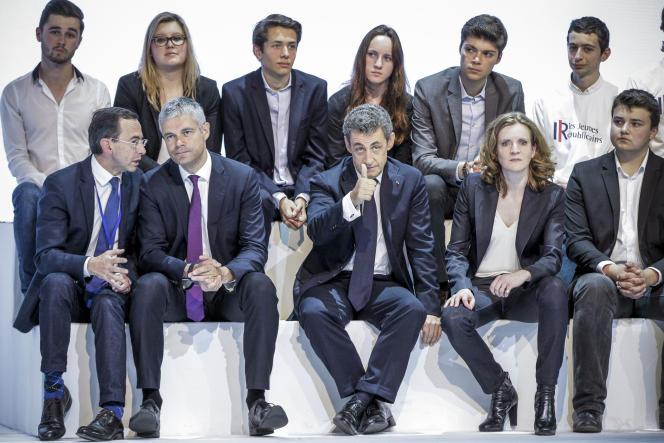 Laurent Wauquiez, Nicolas Sarkozy, président de l'ex-UMP, et Nathalie Kosciusko-Morizet participent au congrès fondateur du parti Les Républicains, à Paris, le30mai.