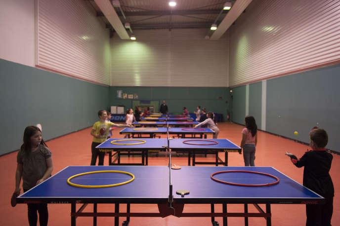 Atelier de ping-pong dans la Halle aux sports d'Epinal (Vosges), le 29 mai 2015.